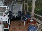 Screened porch, great for morning coffee or dinner