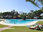 The beautiful main swimming pool is just a few steps away from our apartment