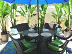 Dine al fresco on our enclosed patio with giant birds of paradise and gas BBQ
