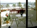 The balcony with  a view to the Marina and the Mediterranean Sea