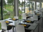 balcony restaurant at golf clubhouse overlooking 18th green only 180 metres from the appartment