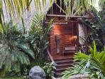 Lush tropical gardens with water features