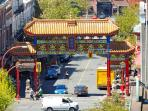 View of Gate of Harmonious Interest, entrance to China Town, taken from rooftop terrace