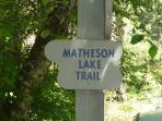 Sign to Matheson Lake