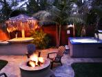 Hot tub and firepit