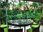 The dining table overlooking the river valley at sunset.  This is where your breakfasts are served.