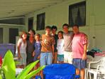 Some of Aunty Lydia's family back for a visit enjoying the lanai.