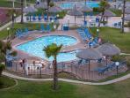 3 pools, (1 heated) and 4 hot tubs, snack hut poolside during summer season!