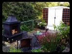 Firepit area with wood and kindling