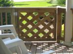 Strong gate secures children and pets.  The deck has a ceiling, so enjoy in all kinds of weather.