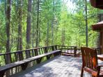 Wrap-Around Deck with BBQ & Jacuzzi Spa; view of seasonal creek, pine trees and private backyard