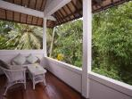 Upstairs outdoor verandah with view to jungle gorge