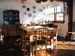 Comfortable seating in the farmhouse kitchen