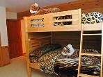 Tiger room full size bunk beds plus a euro-sofa sleeper
