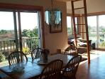 Dining Room- living room, view of moors and ocean from deck, latter to loft and widow's walk