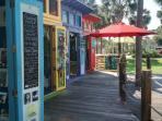 Artist colony shops at Gulf Place resort a 3 minute walk away.