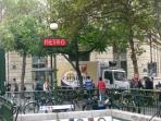 Metro Odéon, 2 minutes walk- super convenient and cost effective