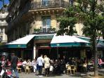 The famous café, Les Deux Magots, in the neighborhood