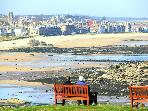 View of North Berwick east beach from Glen Golf Club