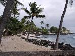 Sandy beach park next to Kona Reef