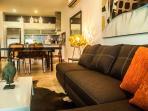 Comfortable plush L shape sofa