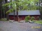Main Cabin, Front view, slate stone walkways