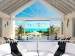 As you walk into the open concept great room you discover expansive views of the Caicos Bank