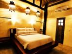 Bedroom 1 King Bed, dressed in luxurious bamboo linen with air conditioner and en suite