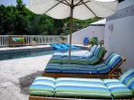 Chaise Lounges around pool