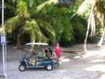 Your rental includes a golf cart to explore Water Island!