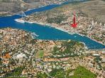 Aeria view of Gruz harbor and apartment location