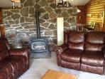 Living room with leather recliner couches