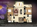 Villa Floor Plan - 2 bedrooms separated by living area, largest 2 bedroom floor-plan w/ larger lanai