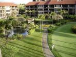 Beautiful gardens, koi ponds, and putting green as seen from our lanai.