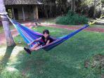 relaxing in front garden