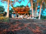The tiki hut just off the beach is loaded with hammocks for a true relaxing experience.