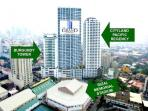 The Grand Towers is opposite the Rizal Memorial Sports Complex