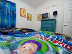 Twin Bedroom 2 - Toy Story Theme, TV, DVD Player, Ceiling Fan, Large Closet