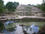 Ruins and cenote at Dzibichaltun