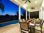 Twilight Pool Patio Dining