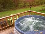 Hot Tub on back deck of Jack's little log cabin