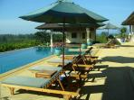 Swimming Pool (17mx6m) / Pool Deck with 6 sunloungers and 3 sun umbrellas