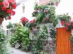 Local cobbled street with lovely flower balconies