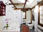 Large European style bathroom, overhead/hand shower, bidet, skylight, exposed beams