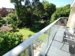 Balcony with views over the garden