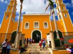 Famous Yellow Church of Cozumel...just arounfdthe corner