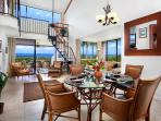 Living / dinning area w/ high ceilings, 2 ocean view lanais and elegant upholstery and amenities