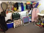 Loft storage area equipped with items for the beach, snorkeling, tennis, fishing and more.