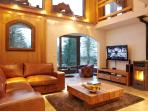 Spacious living areas with wood burning stove