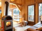 Fire burning stove & lounge area